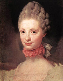 WOMEN HAIRSTYLES AT THE EIGHTEENTH CENTURY  Portrait of Lady in Blue 340baea7b6